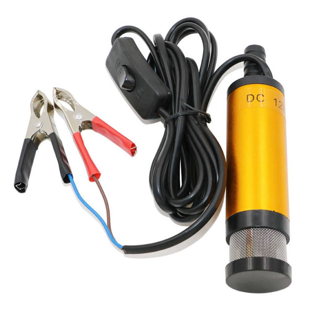 Stainless Steel 12V 38mm Water Oil Diesel Fuel Transfer Detachable Pump,Suitable for Diesel, Kerosene, Water,Cable Length: About 3M(Gold)