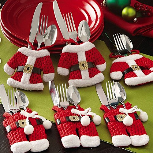 Viiart Santa Suit Christmas Silverware Holder Pockets,Set Of 6