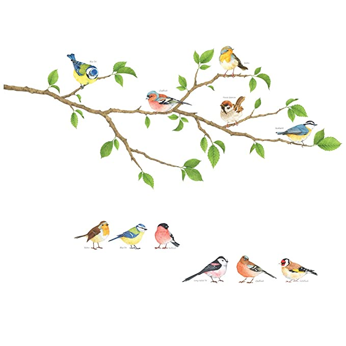 DECOWALL DW-1202 14 Birds on a Branch Kids Wall Decals Wall Stickers Peel and Stick Removable Wall Stickers for Kids Nursery Bedroom Living Room