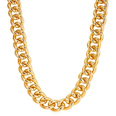 U7 Hip Hop Chain Rapper 18K Gold Plated 23MM Wide 39 Inch Cuban