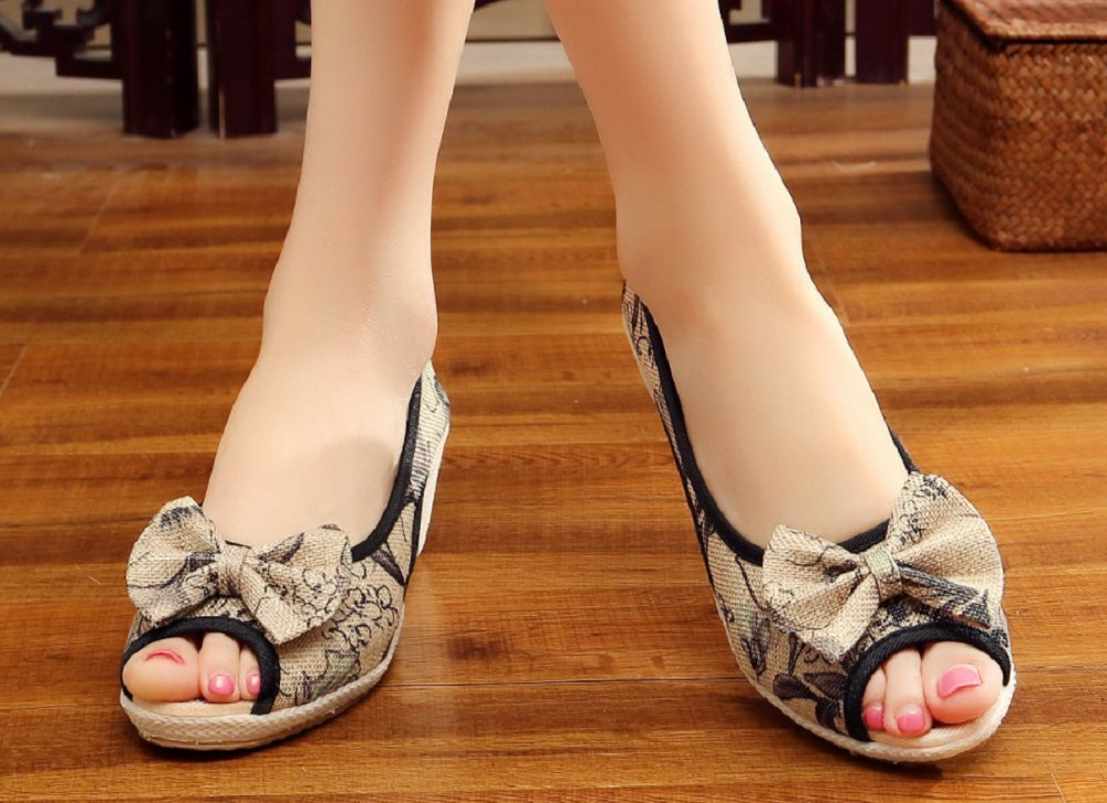 Tianrui Crown Women And Ladies Print Wedge Sandal Shoes Platform Sandals B073D3CWXR 6 B(M) US|Gray