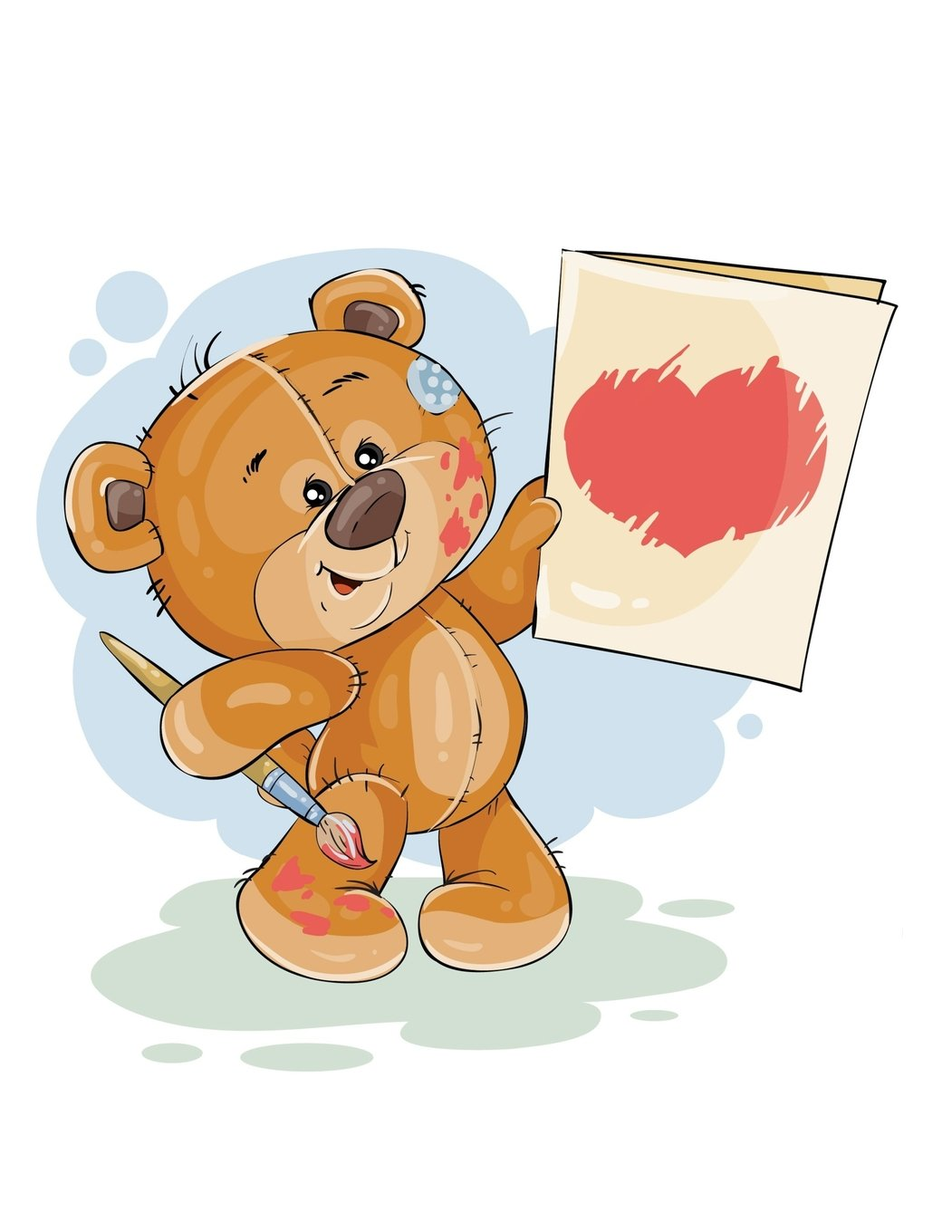 Notebook: Cute Teddy Bear With Painted Love Heart Card, Lined Notebook, Large Size - Letter, Wide Ruled (Teddy Bears)