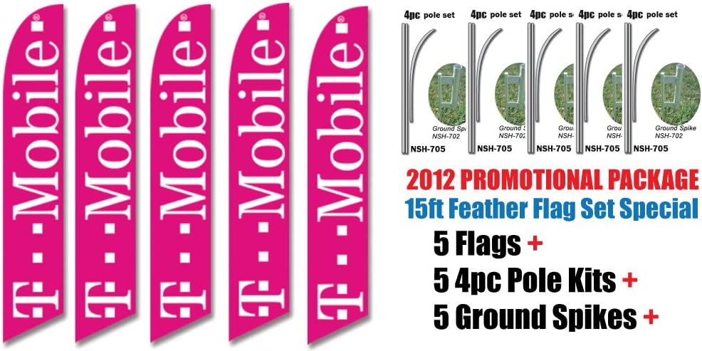 INCLUDES 15FT 4pc POLE KITS w// Ground Spikes 5 Sets of 15ft TMOBILE T-mobile Swooper Feather Flags