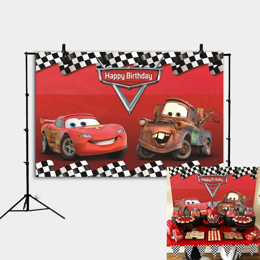 Daniu Cartoon Cars Mobilization Birthday Party Racing Story Photo Backdrops Route 66 Car Racing Background Red Car Backdrop Check Flag Decor Banner ...