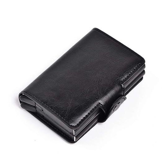BEIKE - Tarjetero Plegable de Aluminio para Tarjetas de crédito, con Bloqueo de RFID, Clip de Dinero de Poliuretano, para Hombres y Mujeres