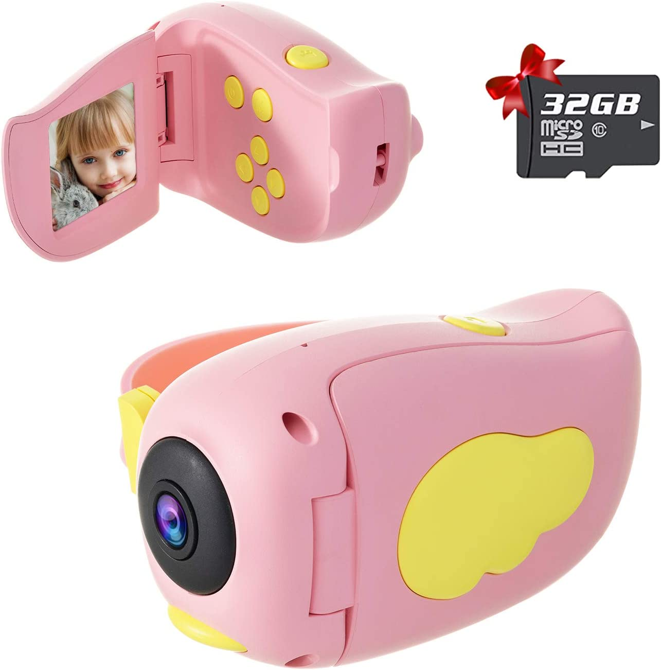 TOPTOO Digital Kids Camcorder Children Video Camera 15M Pixel Auto-Focusing Self-Timer Video-Recording Built-in Filters Stickers with Rechargeable 400mAh Battery