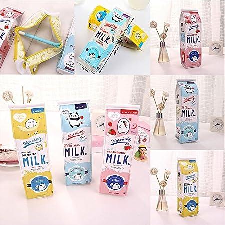 BIGBOBA 2 pezzi Simulazione Milk Carton Pencil Case Stampa Martone animato Scolastico borsa di penna Grande PU Porta penna Unisex