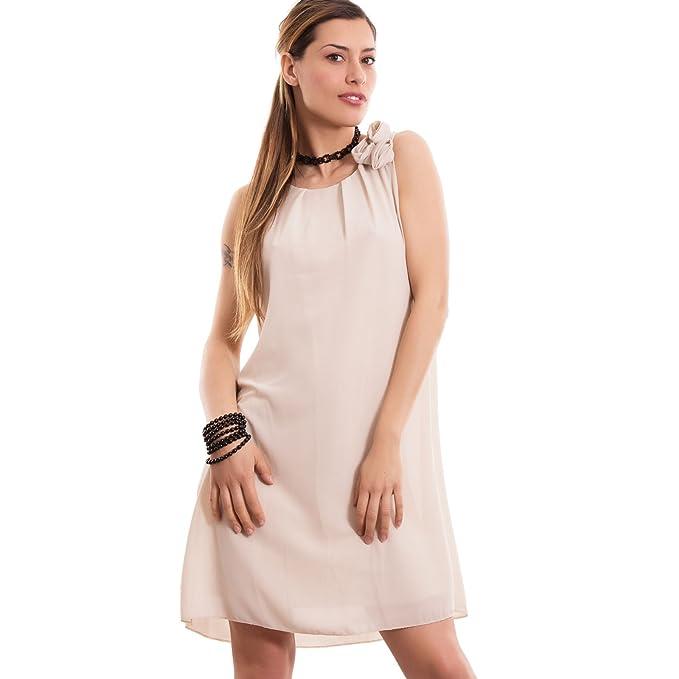 5ba5a64870e9 Toocool - Vestito Donna Miniabito Abito Velato Rosa Corto Svasato Ampio  Nuovo CC-1367