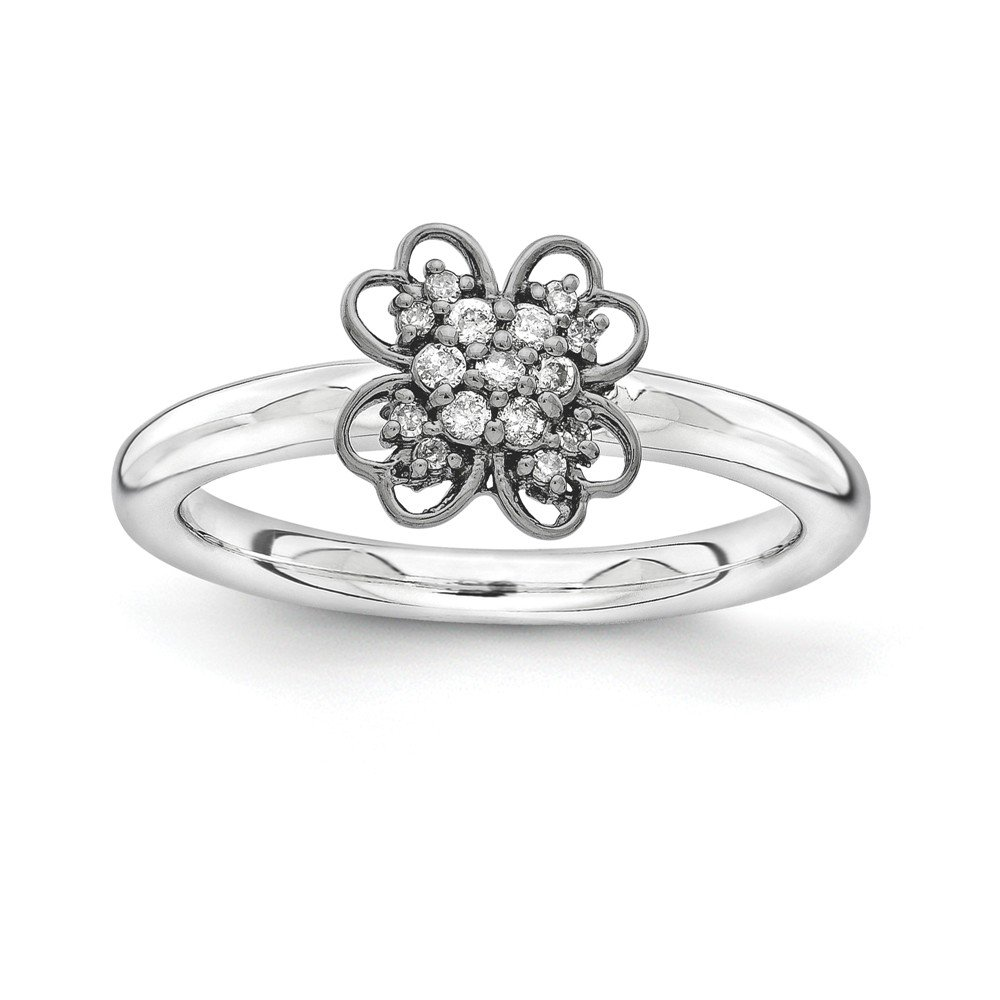 Sterling Silver & Black-plated Stackable Expressions Diamond Flower Ring Size 5