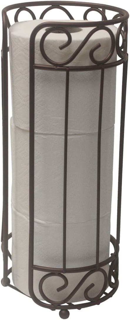 Home Basics TH10661 Scroll Collection Bath Tissue Reserve, Toilet Paper Roll Holder and Organizer, Bathroom Storage, Sturdy Coated Steel, Bronze