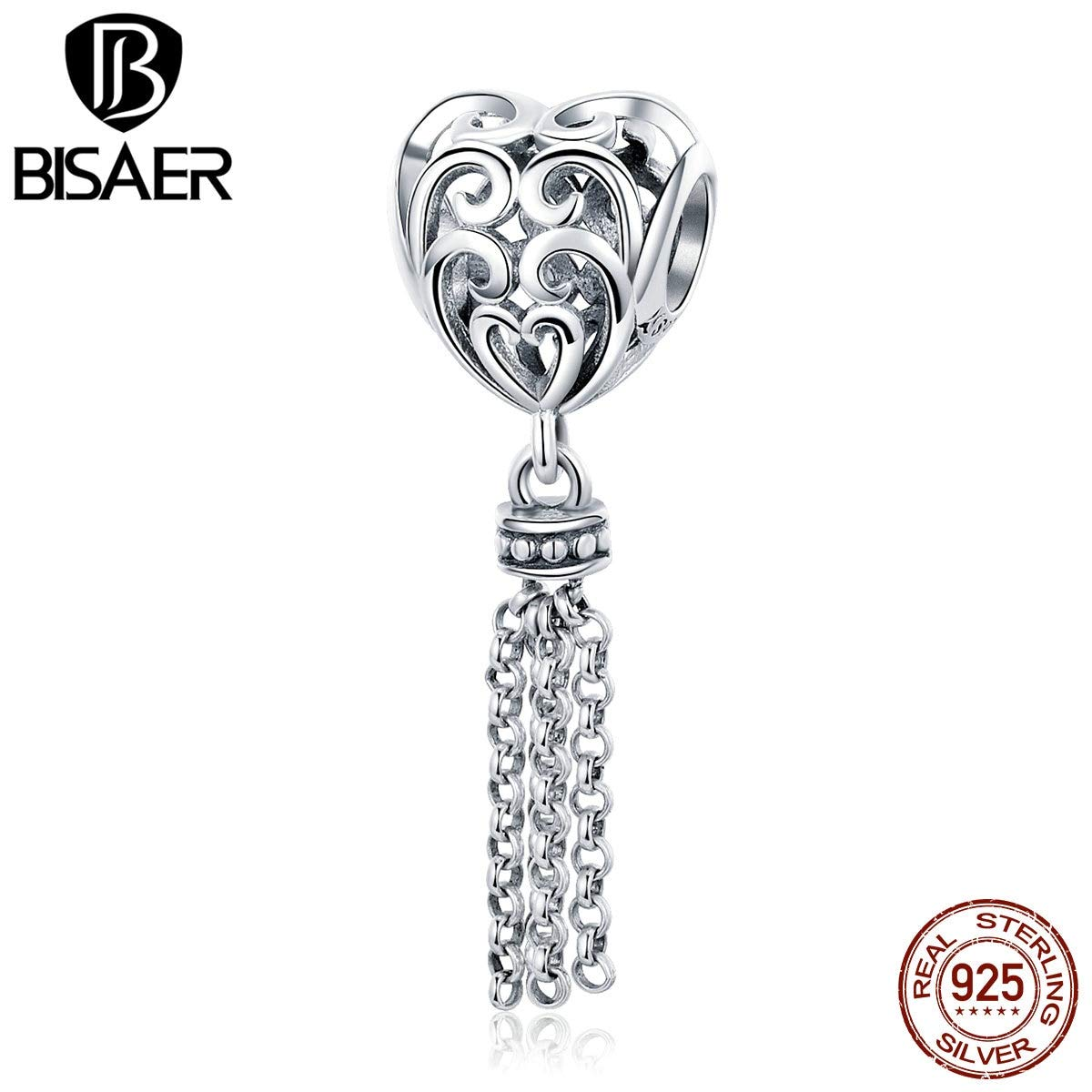 Calvas 100/% 925 Sterling Silver Heart Shape Vintage Tassel Charms Beads Fit Charm Bracelets for Women Beads Silver 925 Jewelry ECC722