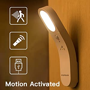 POPSUN Motion Sensor Night Light,USB Rechargeable LED Rotatable Lights,Bedside Lamp,Handheld Cordless Battery-Powered Flashlight,Stick-Anywhere Wall Light for Bedroom,Bathroom,Stairs etc.