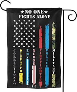 "YISHOW No One Fights Alone Garden Flag Double Sided Vertical American Patriotic Flags Yard Signs Outdoor Decor 12.5""X18"""