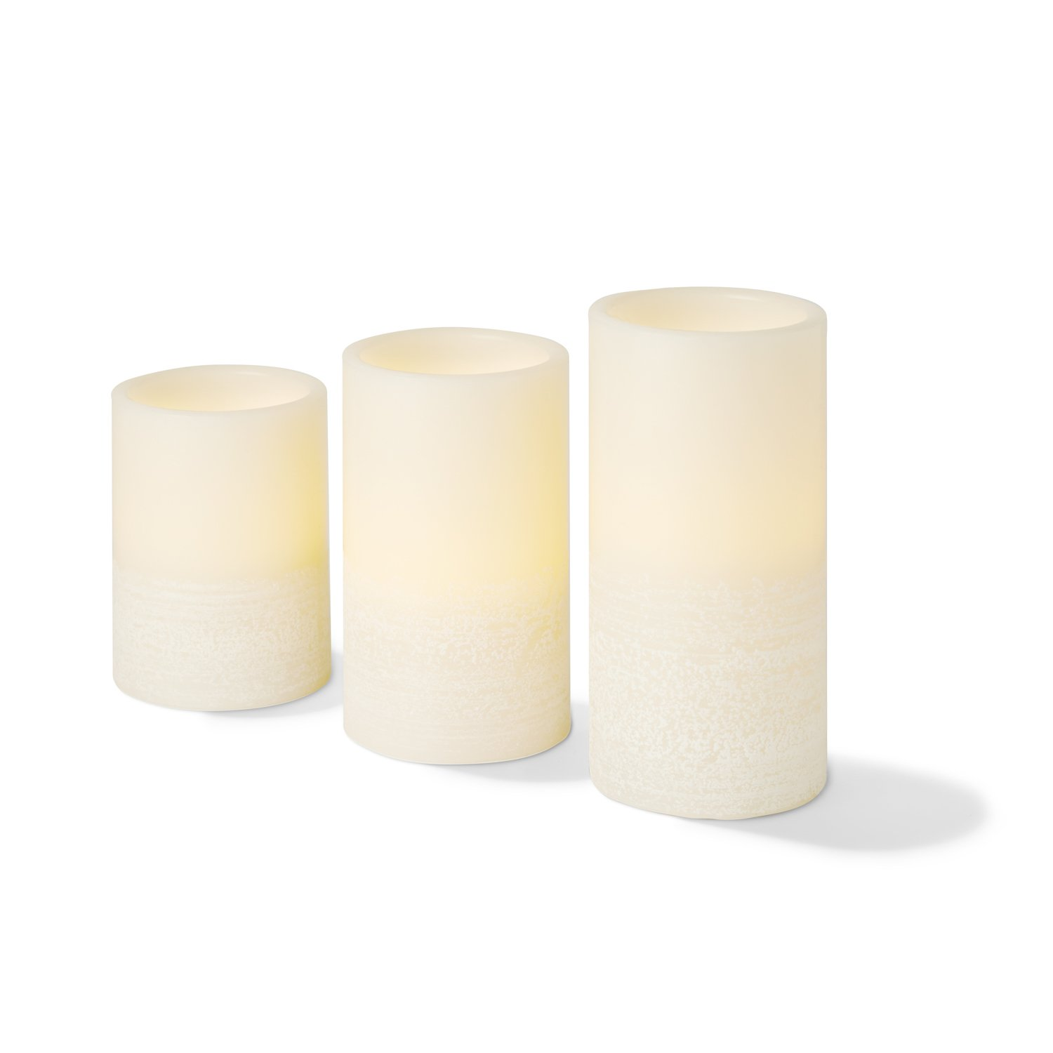 Wax Flameless Pillar Candles with Remote, 4'',5'',6'' Height, Warm White LEDs, Ivory Smooth Candle with Textured Base, Batteries Included - Set of 3