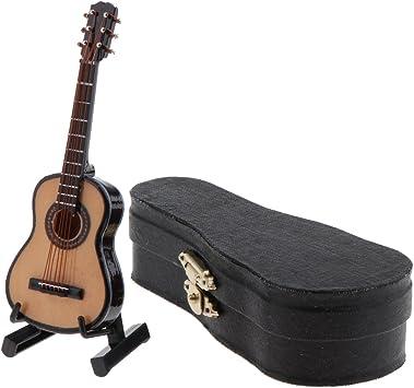 Amazon.es: Sharplace Escala 1/12 Guitarra de Madera Instrumento Musical con Estuche en Miniatura Decoración de Casa de Muñeca: Juguetes y juegos
