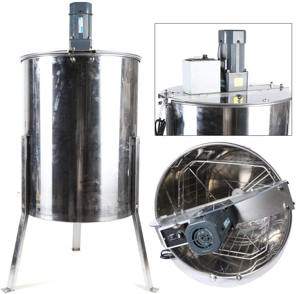 DIFU Extractor de Miel de 120 vatios Extractor tangencial Extractor de 4 Cuadros Panal Equipo de Apicultura Manual Acero Inoxidable Apicultor Aficionado: Amazon.es: Coche y moto