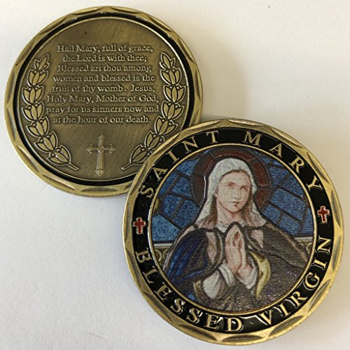 (Aizics Mint ST. Mary Blessed Virgin Hail Mary Full of Grace Prayer Commemorative Coin. Cast with Colorized Saint and Beautiful Iron Plating & Ancient Bronze Original one-of-a-Kind Design.)