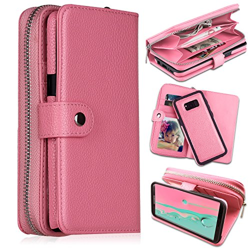 Galaxy S8 Plus Wallet Cases, [Large Capacity][Magnetic Detachable] CASEOWL 2 in 1 Zipper Pocket PU Leather Flip Wallet Case with Wrist Strap, H/V Stand, Cards Holder for Galaxy S8 Plus-Pink
