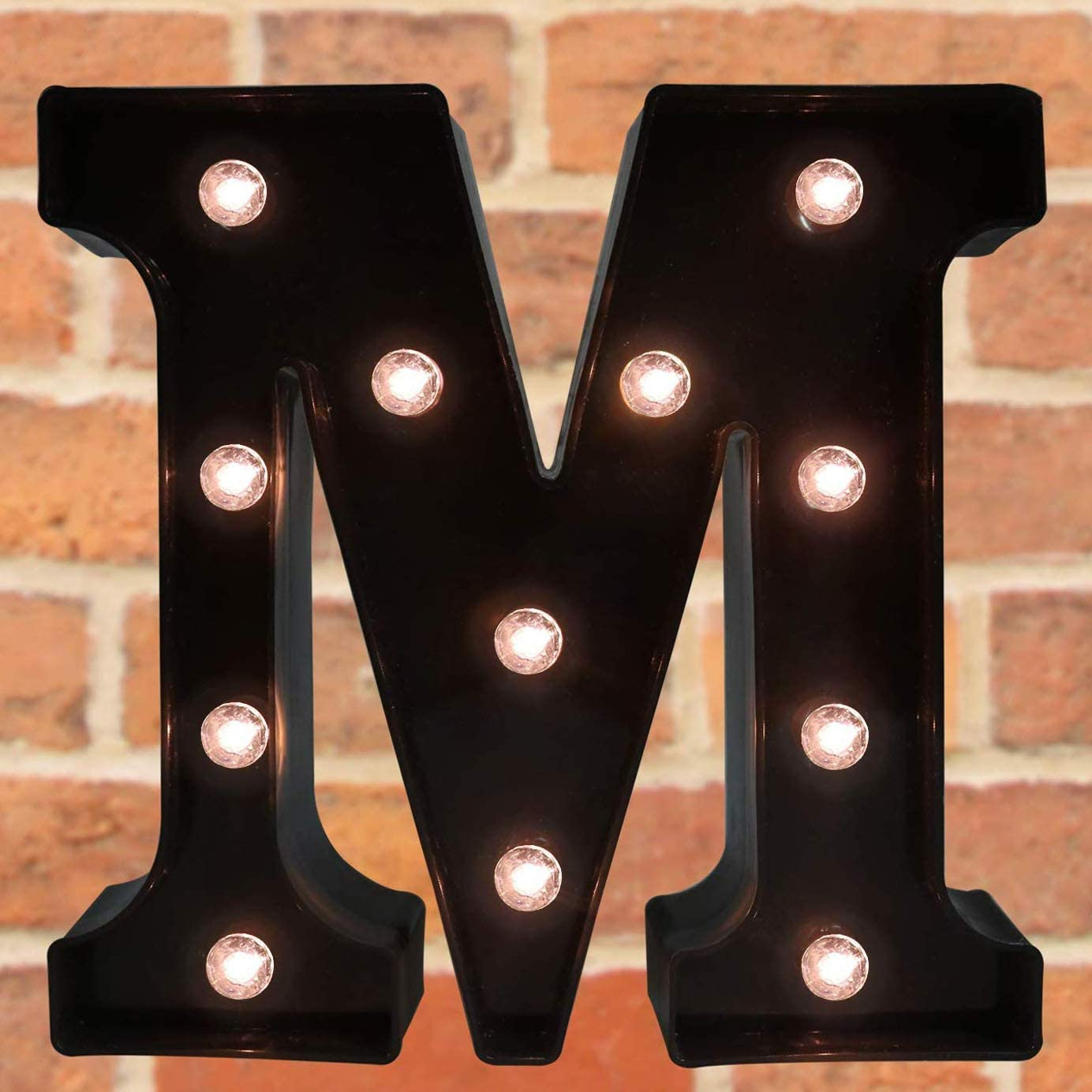 Pooqla Decorative LED Illuminated Letter Marquee Sign - Alphabet Marquee Letters with Lights for Wedding Birthday Party Christmas Night Light Lamp Home Bar Decoration M, Black