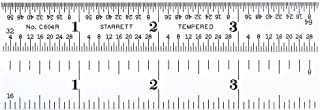 "product image for Starrett C604R-4 Spring Tempered Steel Rule With Inch Graduations, 4R Graduations, 4"" Length, 5/8"" Width, 3/64"" Thickness"