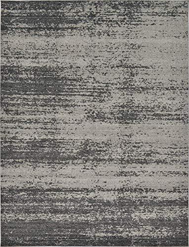 Unique Loom Del Mar Collection Contemporary Transitional Dark Gray Area Rug (9' 0 x 12' 0)
