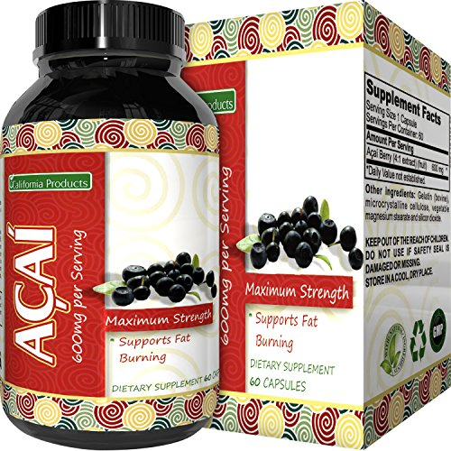 Acai Supplements - Pure Acai Berry Concentrate Capsules – Acai Berry Cleanse Weight Loss + Antioxidant Support + Energy + Immune System Booster - Health and Wellness Dietary Supplement For Women & Men