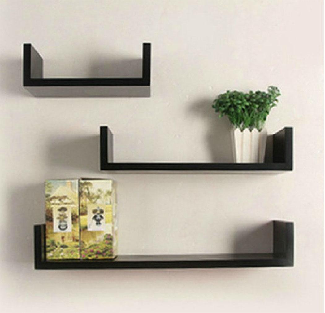 Pesters Set of 3 Floating U Shelves Wood Wall Shelf DIY, Display and Storage Racks for Living Room Dining Room Bedroom Office Hotel (US STOCK) (Black)