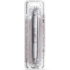 Single Silver Grey Rainbow Dust Double Ended Food Pen & 20ml edible glue