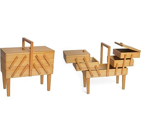 Hobbygift 3-Tier Cantilever – Caja de Costura con Patas, Madera, lámpara de Techo de Madera/Beige: Amazon.es: Hogar