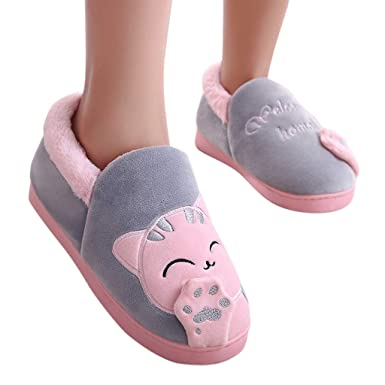 0cb58096088 Amazon.com  Lurryly Women Fashion Winter Home Slippers Cartoon Cat Non-Slip  Warm Indoors Bedroom Floor Shoes 2019Clearance!  Clothing