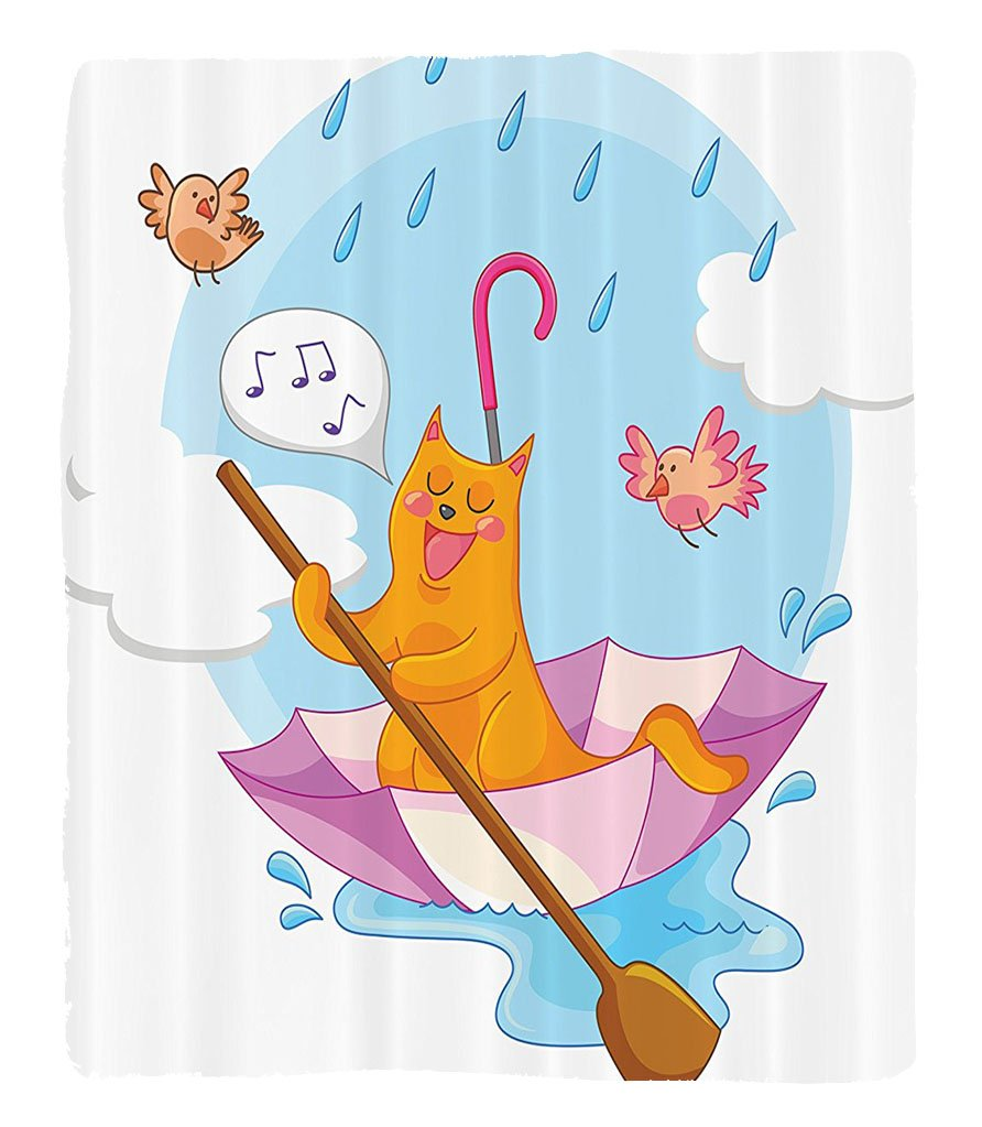 Chaoran 1 Fleece Blanket on Amazon Super Silky Soft All Season Super Plush Home Decor Cute Cat under the Umbrellaail in the Clouds Humor Cartoon Kids Nursery Theme Fabric