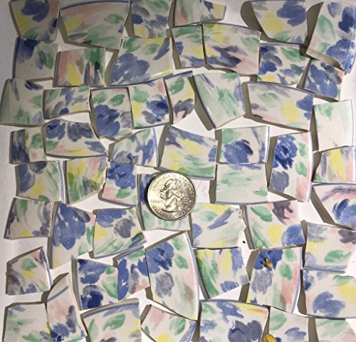 Mosaic Tile Art Supply for Mosaics & Crafts ~ Soft Pastel Abstract China Tiles ()