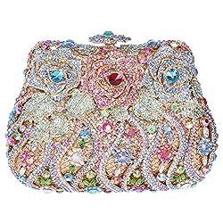 Fawziya Rose Clutch Purse Luxury Crystal Evening Clutch Bags-Colorful Pink