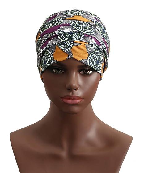 Turban Hat Headband Head Wrap - Purple Black African Women Jersey Magic  Turbans Headwrap Chemo Cap 1fd038dc6b72