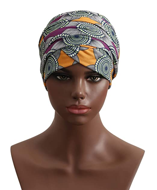 Turban Hat Headband Head Wrap - Purple Black African Women Jersey Magic  Turbans Headwrap Chemo Cap a695893a6f1f