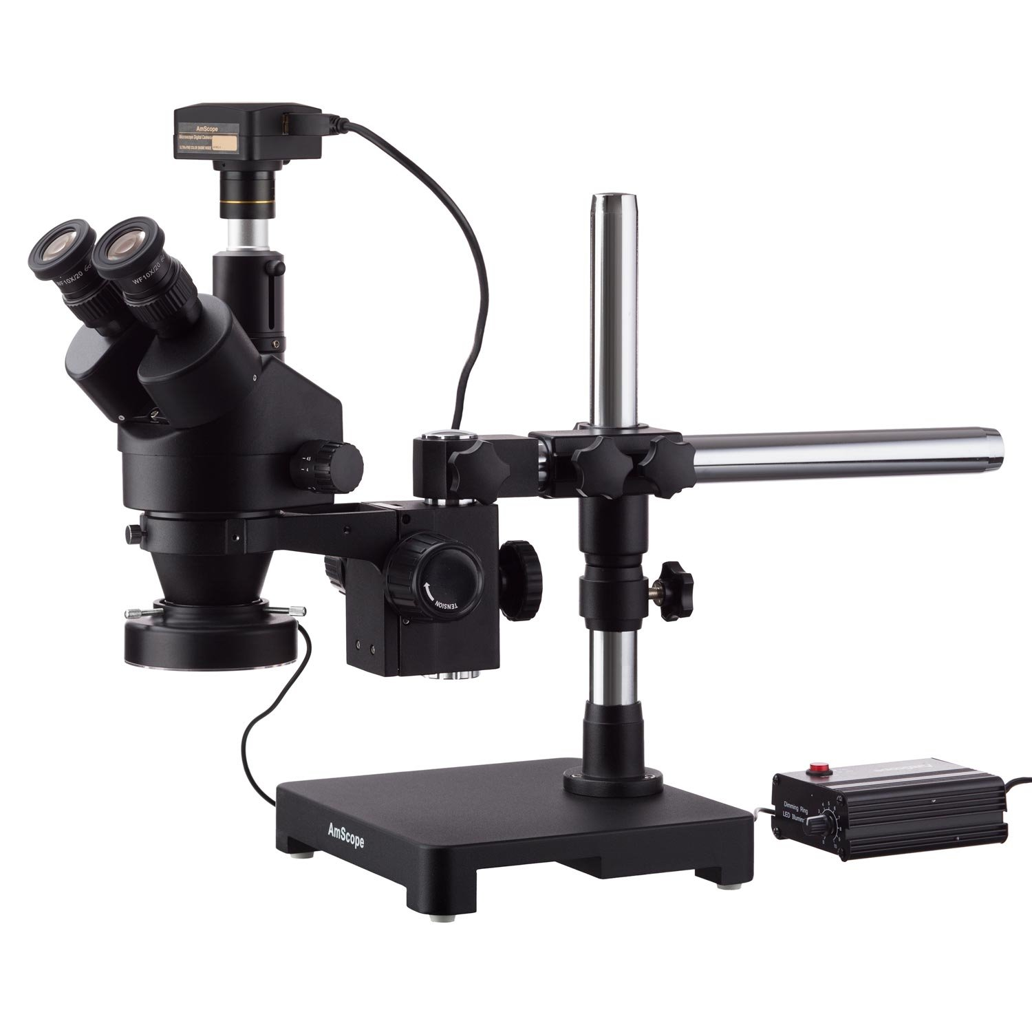 US Plug 3.5X-90X Trinocular High Definition Microscope Dual Arm Stand Stereo Zoom Microscope with Ring Lamp 100-240V for Teaching Demonstration Laboratory Trinocular Microscope