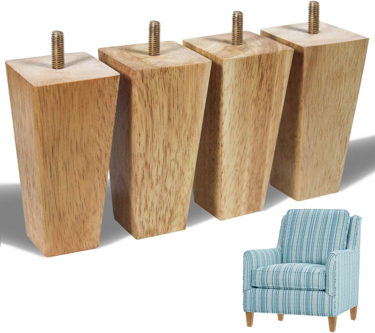 Wood Legs for Furniture Legs Replacement 5 inch Light-Tone Wood Color Square Sofa Feet for Couch Cabinet Ottoman Pack of 4