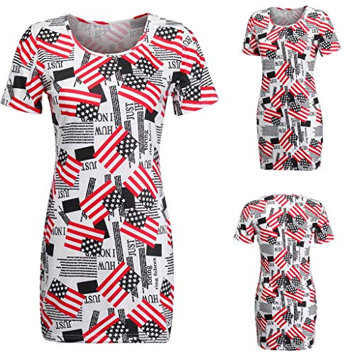 39' Combination Kitchen - Finedayqi  Woman Shirt,Women Tight Fitting Short Sleeve Round Collar Printing Dress White