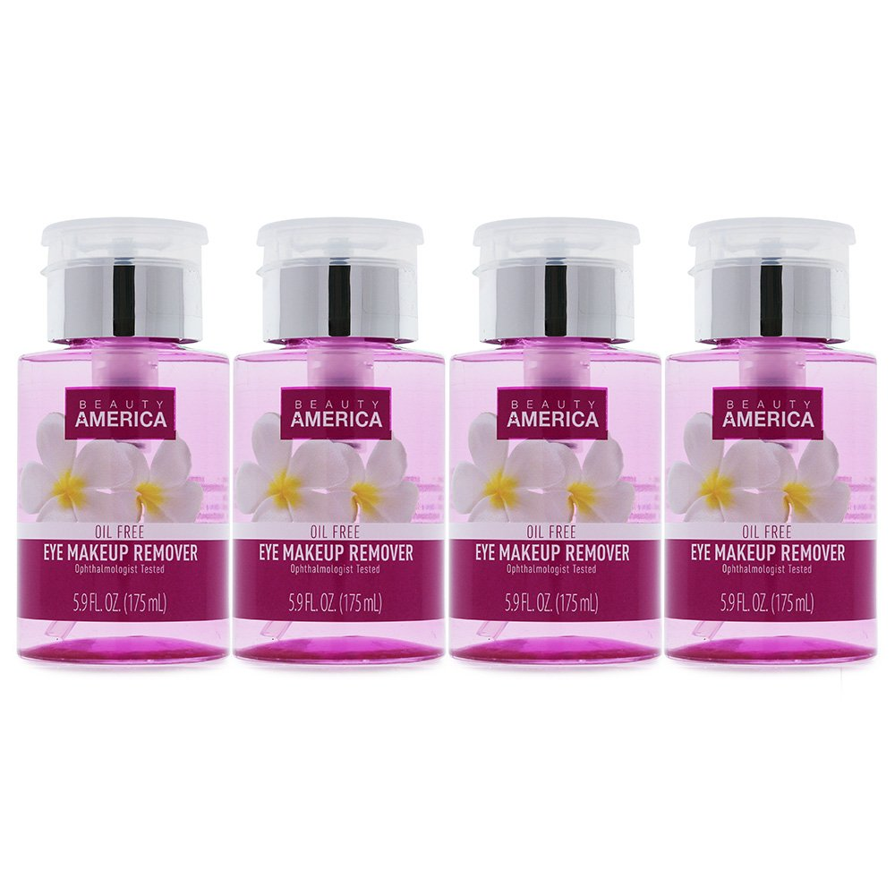 Beauty America Gentle Eye Makeup Remover Oil-Free, No-Leak, Push-Top Pump, 4 pack