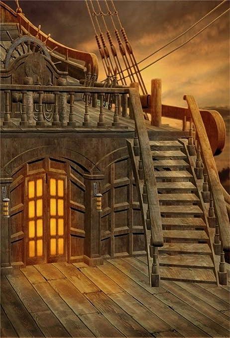 GzHQ 8x10ft Fantasía Barco Pirata Fondo Fairyland Nublado Escalera de Madera Timón Locker Barco en el mar Foto Telón de Fondo Retrato Fotografía de Viaje Accesorios Fondo de Pantalla Cortina: Amazon.es: Electrónica