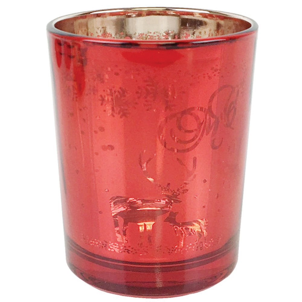 Just Artifacts Christmas Metallic Votive Candle Holder 2.75'' H - Red and Gold Reindeer Games (Set of 12) - Glass Votive Candle Holders for Weddings and Home Décor