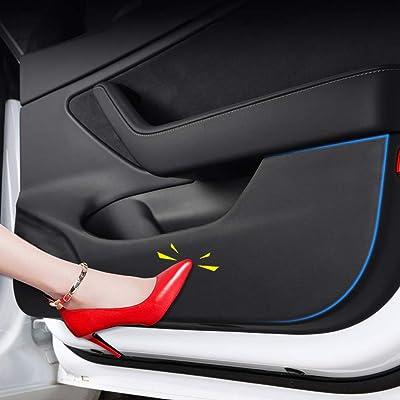 Motrobe Tesla Model 3 Door Protector Anti-Kick Mat Leather Matte Black Set of 4: Automotive