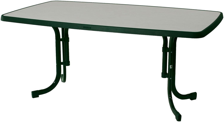 Sieger 153/S Boulevard-Klapptisch mit mecalit-Pro-Platte 150 x 90 cm, Stahlrohrgestell smaragdgrün, Tischplatte Marmordekor weiß