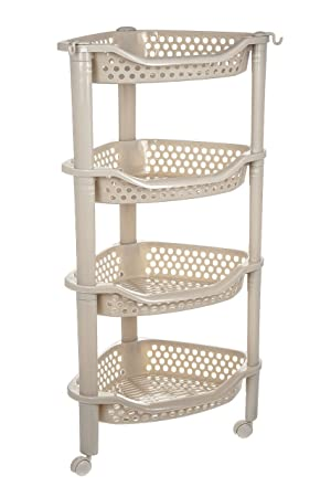 Costello HQ 3/4 TIER SLIM SLIDE OUT STORAGE TOWER ROLLING CASTOR WHEELS  PLASTIC SPICE
