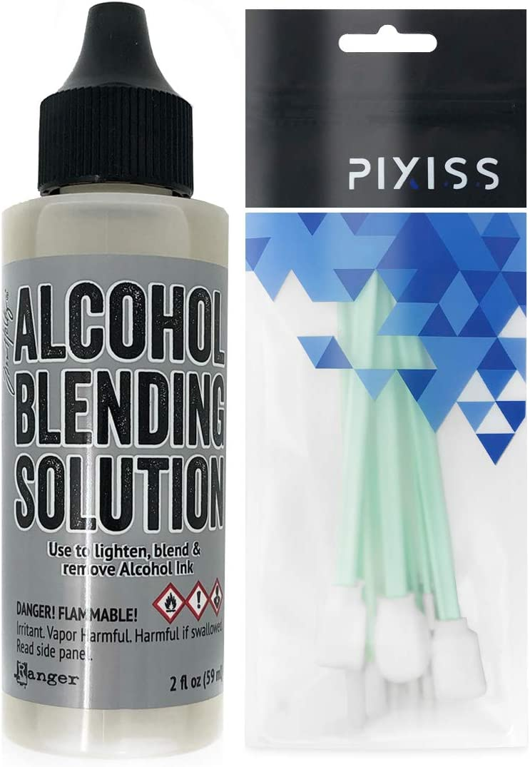 Ranger Alcohol Blending Solution (2-Ounce) and Pixiss Alcohol Ink Blending Solution Tools for Blending Your Inks on Yupo Paper
