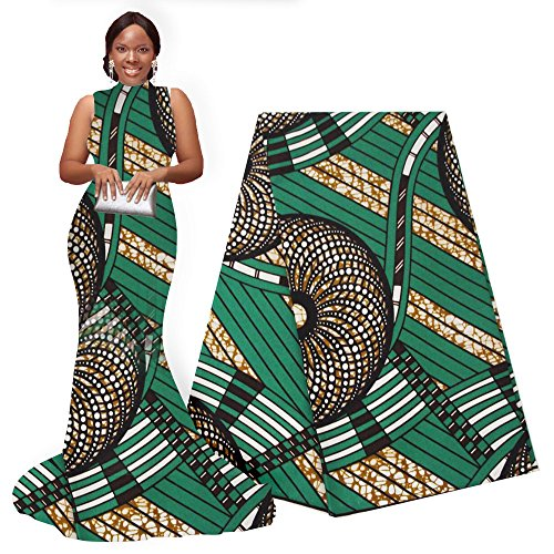 pqdaysun African Super Wax Print Fabric Ankara Fabric Wax Material 6 Yards for Sewing Dress Clothing (Green)