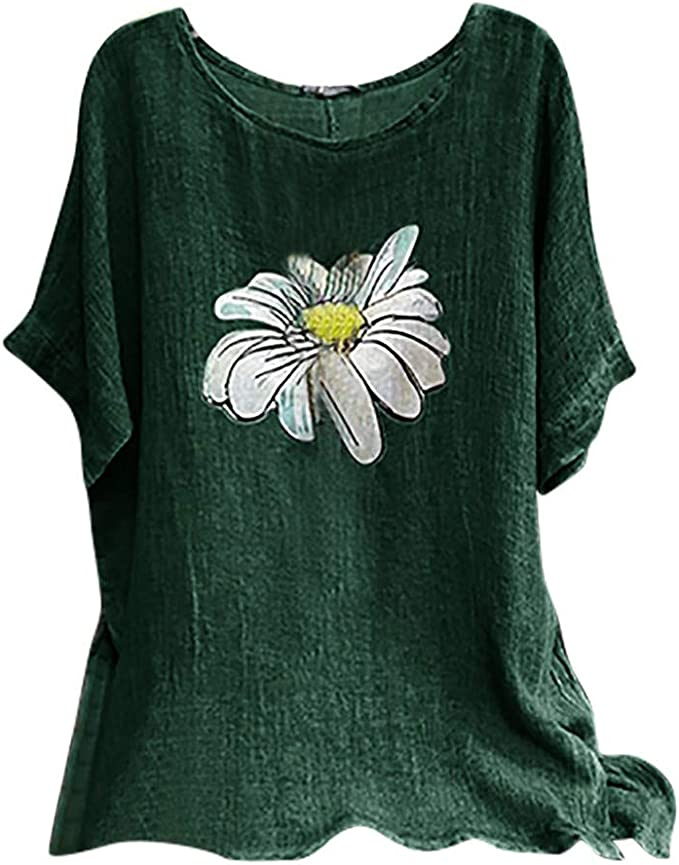 Graphic Short Sleeve Monochrome Composition with Floral Elements Blooming Petals and Leaves Tshirts T Clothes Shirt Womens Ladies Medium