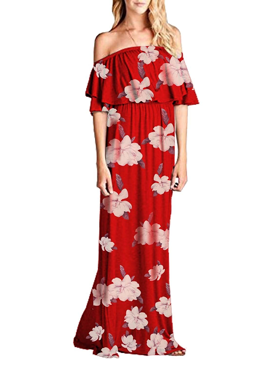MIHOLL Womens Off The Shoulder Ruffle Party Dresses Maxi Casual Dress