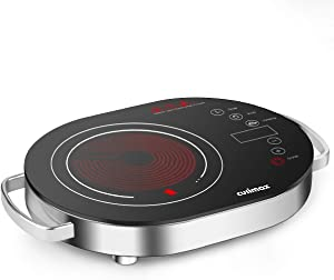 Cusimax Hot Plate Electric Stove, 1500W LED Infrared Single Burner Portable, Heat-up In Seconds, 7.9 Inch Ceramic Glass Cooktop with Touch Buttons, Adjustable Temperature for Dorm Office Home Camp, Compatible w/All Cookware (Infrared Burner)
