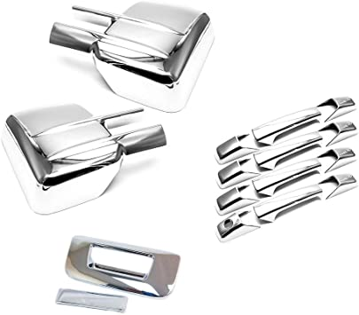 For 2014~2018 CHEVY Silverado 1500 Chrome Covers Full Mirrors+4 Door KH+Tailgate